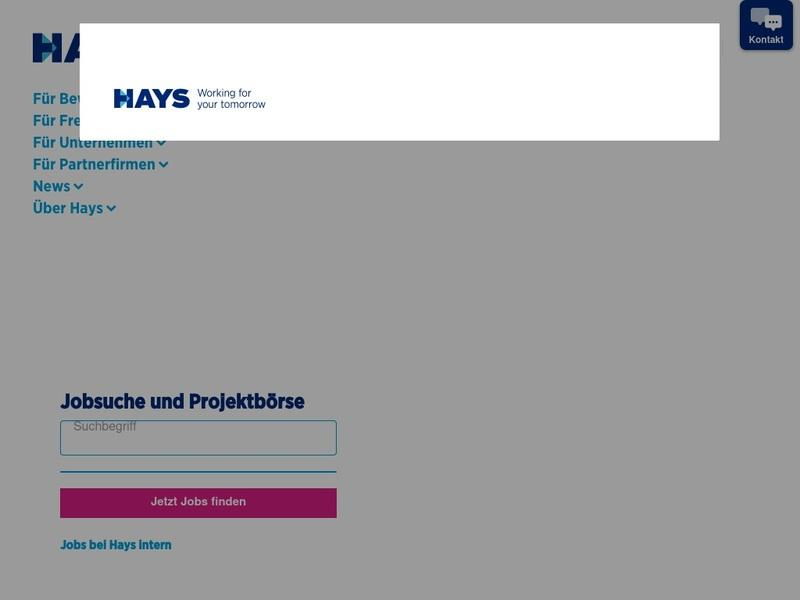 Screenshot von www.hays.de
